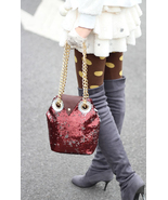 Super Cute Burgundy Sequins Owl Handbag. Fashio... - $92.90