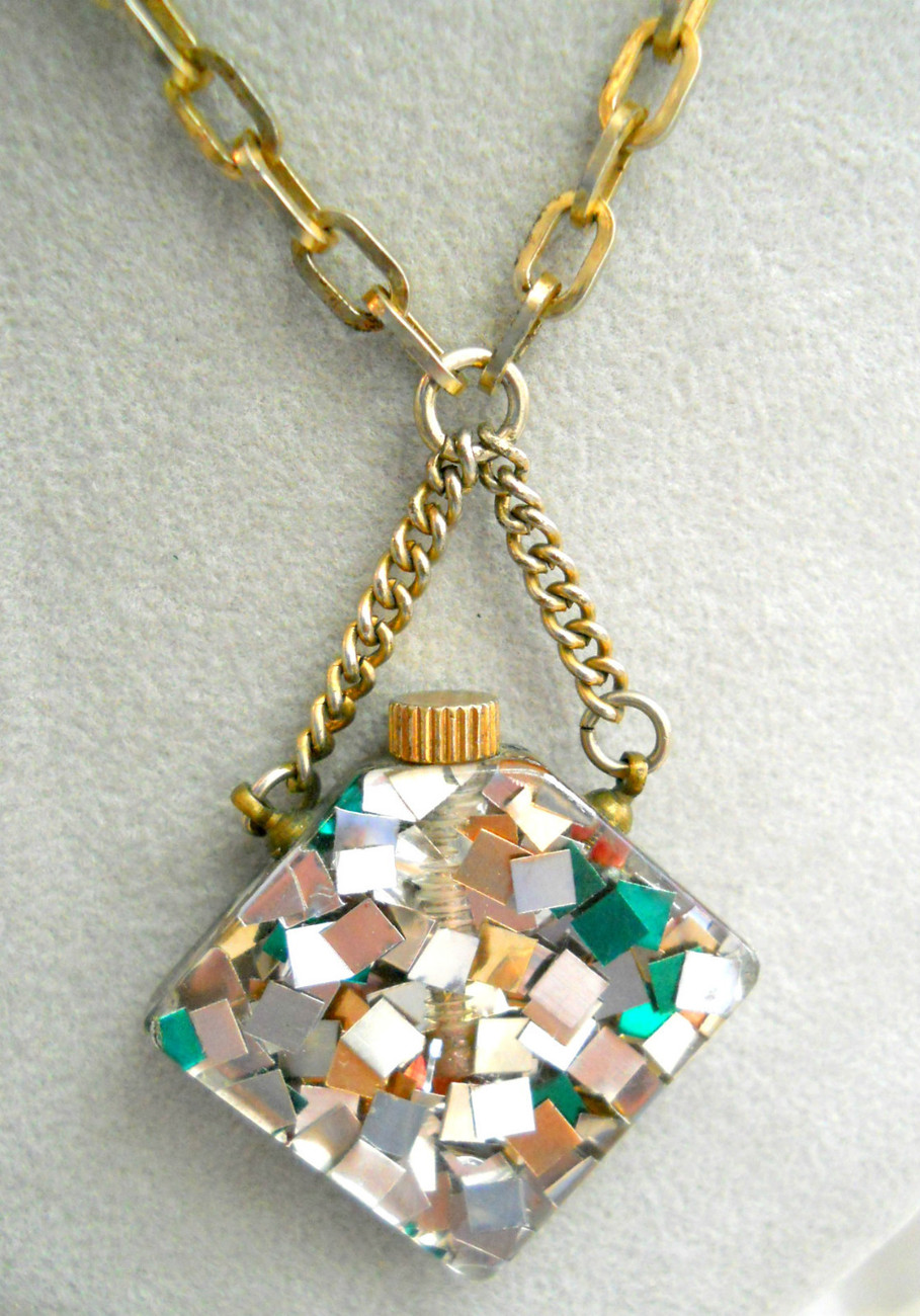 Vintage CONFETTI LUCITE Perfume Bottle Necklace Geometric Silver Red Green