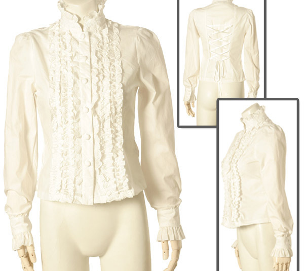 White Gothic Lolita Steam Punk Puff Long Sleeve Ruffle Blouse Bodyline Top