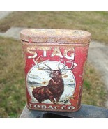 Antique VERY RARE BUT VERY ROUGH STAG TOBACCO TIN - $125.00