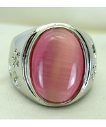 Pink Oval Man-Made Faux Peruvian Opal Ring Size... - $48.77