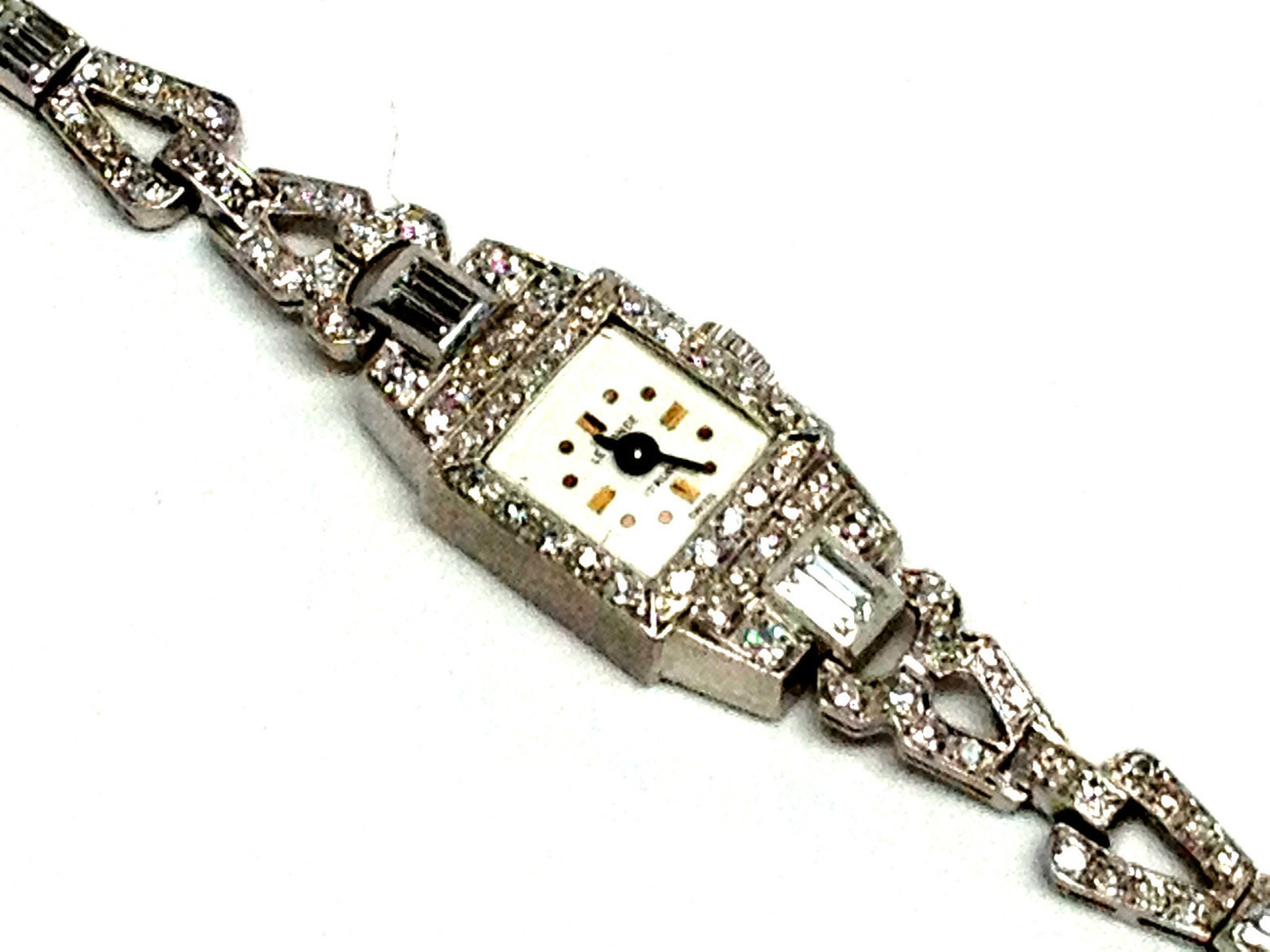 Authentic Ladies LeMONDE Vintage All Platinum & 2.5 ct Diamond Bracelet Watch