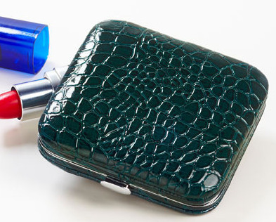Croco Compact Mirrors  Teal  Two mirrors- 2 strengths