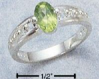 Sterling Silver Oval Genuine Peridot Ring size 6