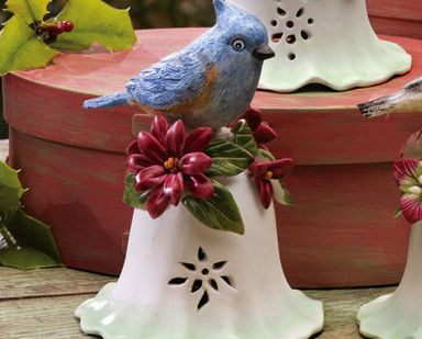 Ceramic Bird Bell Collectible Blue Jay New