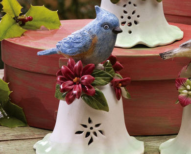 Ceramic Bird Bell Collectible Blue Bird New
