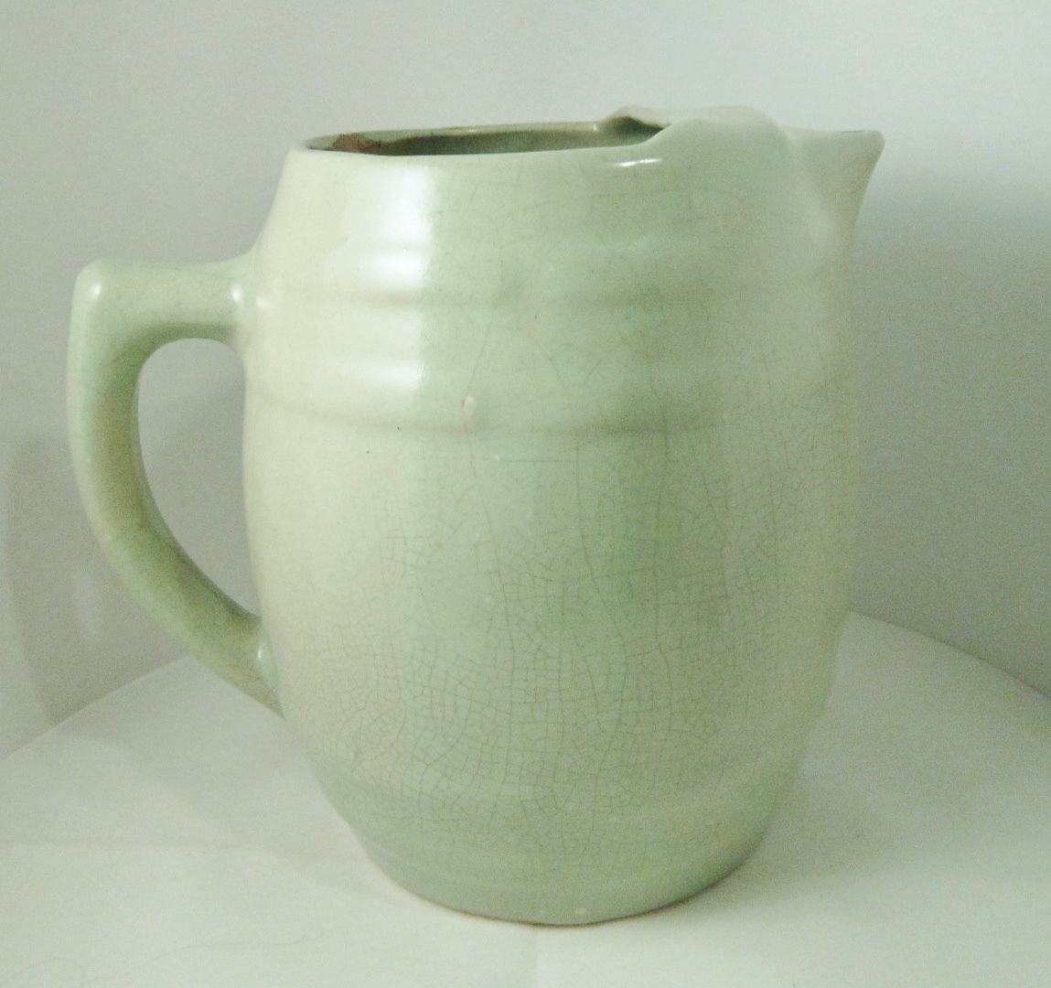 Uhl Pottery Barrel Pitcher Ice Lip Vintage American Stoneware Lemonade