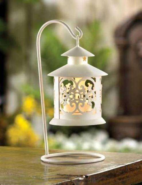 12775 White Filigree Candle Lantern  FS