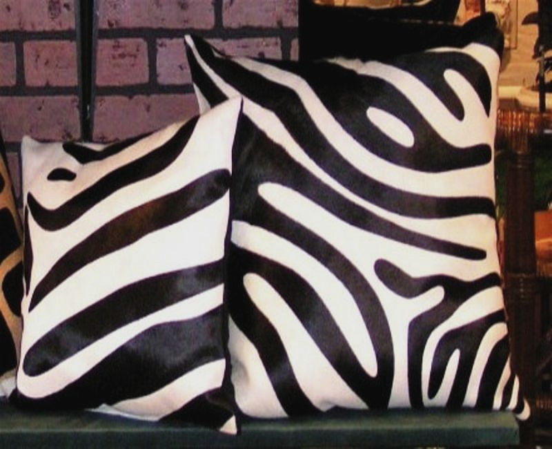 Zebra  Print Cowhide Pillow Black and White