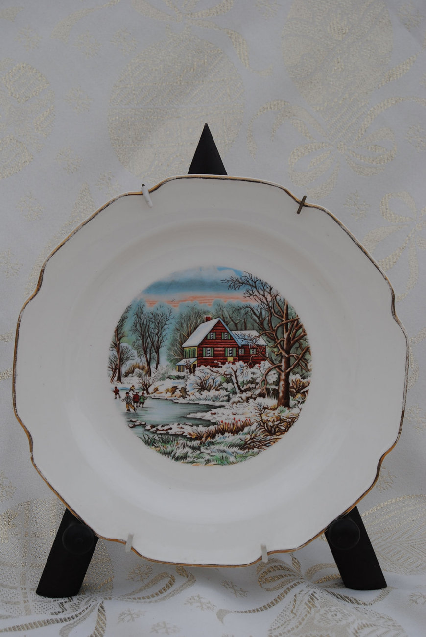 Transfer ware advertising plate with red barn