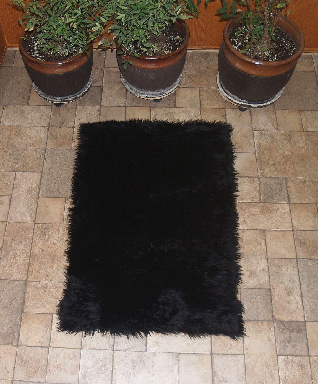 Faux Fur Area Rug Black Large