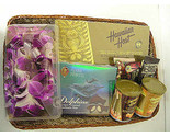 Buy Fresh Orchid Lei and Hawaiian Gourmet Gift Basket Exclusive