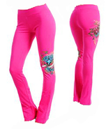Fuschia Yoga Pants with Rhinestone Detail - $15.99