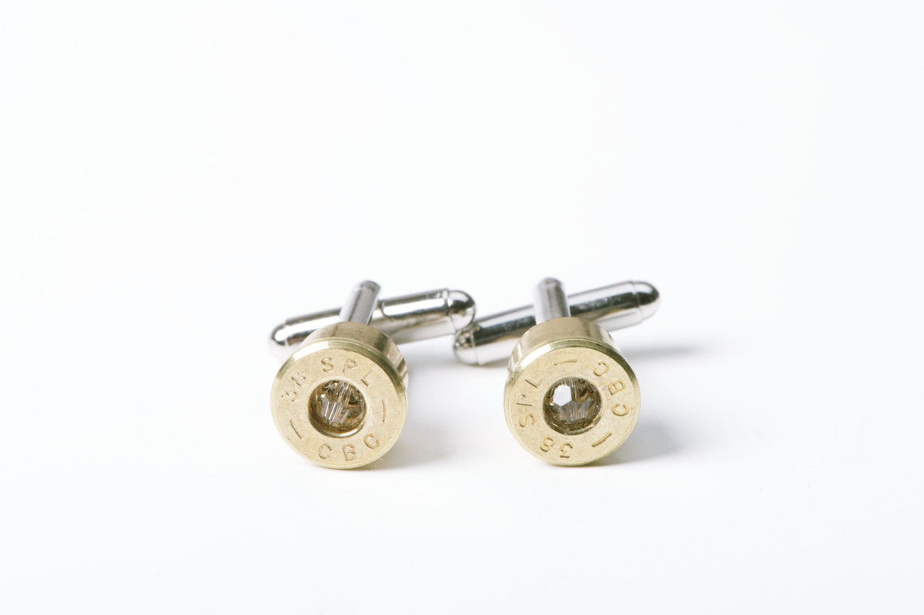 38 Special Bullet Cufflinks with Clear Swarovski Crystals
