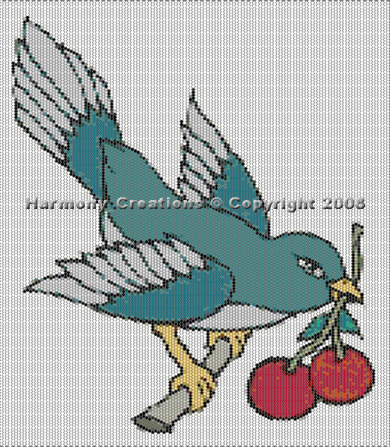 Bead Pattern Bird with Cherries Peyote Stitch Tattoo Designs