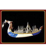 Niello Siam Sterling Silver Dragon Boat Brooch ... - $69.99
