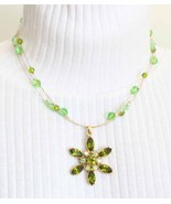 Elegant Chartruese Rhinestone & Cut Glass Necklace - $17.95