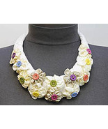 Pretty Fabric YO YO Button Collar Necklace - $5.95