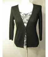 August Silk Black And Silver Knit Top Size Medi... - $21.00