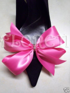 Sassy Hot Pink Satin Bow Shoe Clips Swarovski Crystals from bonanzle.com