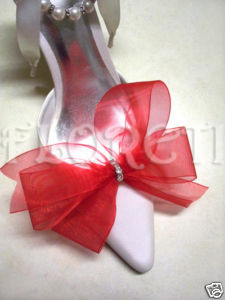 Sassy Red Organdy Bow Shoe Clips Swarovski Crystals - New York - Bonanzle