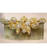 Large Swarovski Crystal Studded Flowered Gold Hair Comb