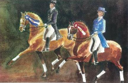 Horse Painting Riders Horses Signed Dressage Art Print