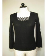 August Silk Black Knit Top With Black Sequins S... - $26.00