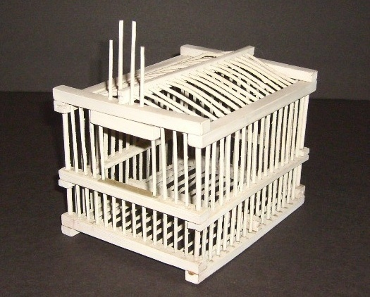 Small white decorative bird cage birdcage shabby chippy sweet!