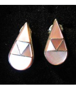EARRINGS PINK MOTHER OF PEARL INLAY STERLING SI... - $19.99