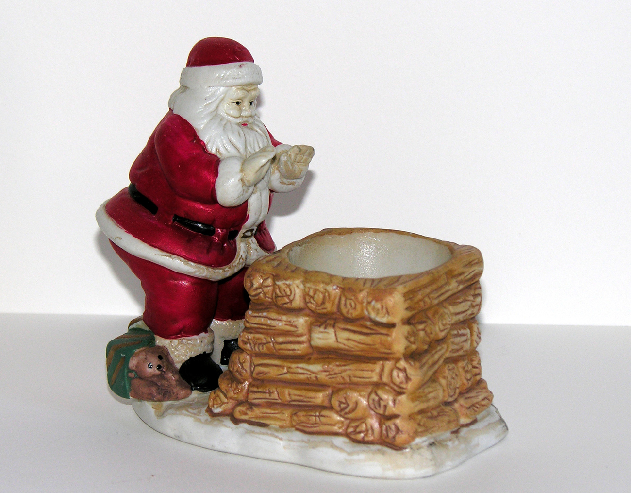 PartyLite Santa Votive Candle Holder Christmas Decor Holiday