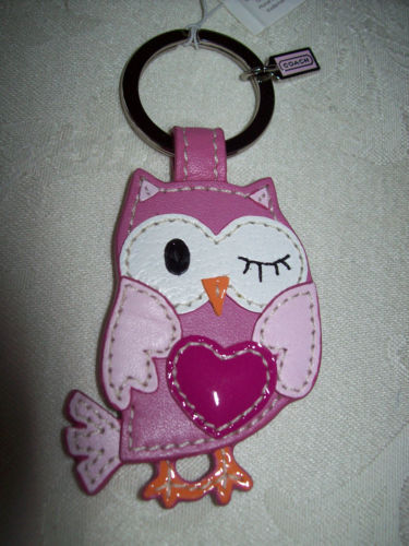 Coach Owl Pink Leather Key Fob/ Ring/Chain NWT 93095 New in Box