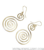 Handcrafted Silver Celtic Double Spiral Drop Earrings