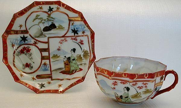Early 1900s HP JAPANESE CHINA TEACUP SET Mother & Child