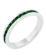 Emerald CZ White Gold Plated Channel Set Stacka... - $18.00