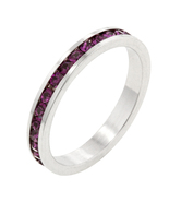 Amethyst CZ White Gold Plated Channel Set Stack... - $18.00