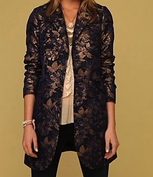 Free People Brocade Boyfriend Navy Coat Size 0 2