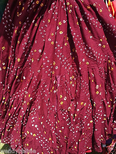 BURGUNDY~AUTHENTIC JAIPUR TRIBAL GYPSY BELLYDANCE COTTON BOHO SKIRT~ATS®SCA REN