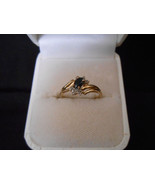 sapphire & Diamond Ring 14K Size 7 5x33mm oval ... - $369.33