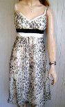 Coctail dress size 8 silk black white brown animal print sun dress cruisewear