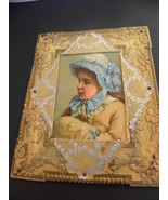 Antique Photo Frame Pretty Girl In Bonnet Rare - $25.00