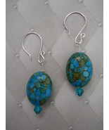 Earrings: Blue Magnesite + Swarovski Crystal --... - $18.00