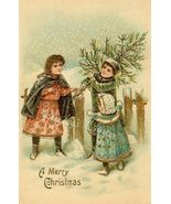 c.1900's CHRISTMAS CHILDREN Tree GOLD postcard ... - $9.99