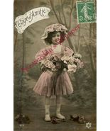 Edwardian YOUNG GIRL Flowers French ORG postcar... - $9.99