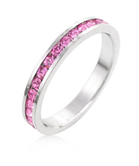 Pink Sapphire CZ White Gold Plated Channel Set ... - $18.00
