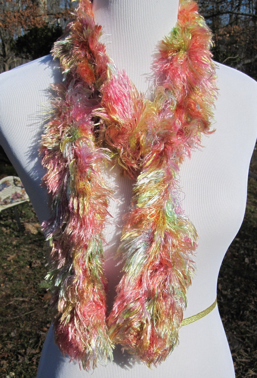 Pink and Yellow Knit Scarf