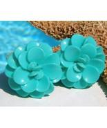 Vintage Lucite Plastic Flower Earrings Turquois... - $16.95