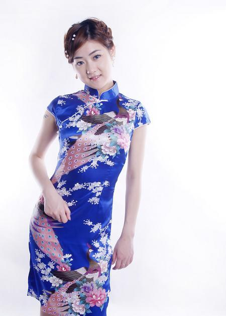 Blue Peacock Pattern Chinese Lady Mini Dress Cheongsam 19 Size   Avilable