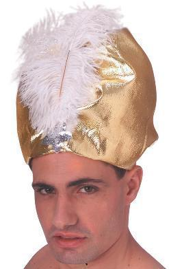 GOLD LAME TUBAN with GOLD FEATHER