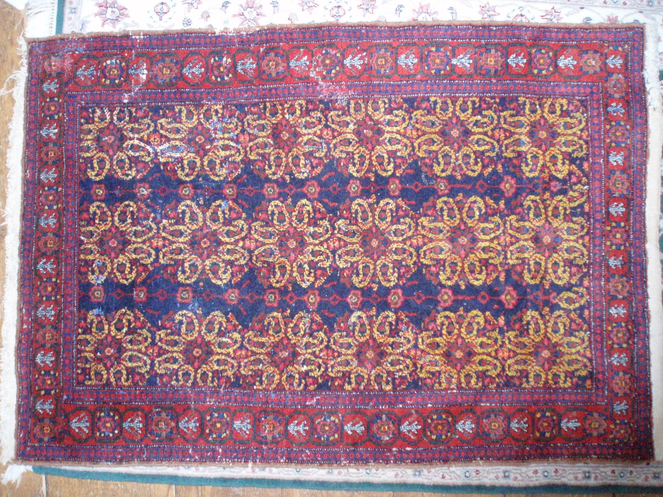 Iranian Persian Oriental rug 40 x 58  antique red navy gold